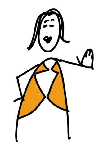 sketch a woman stop figure